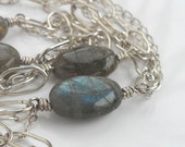 Sterling Silver Infinity Necklace Beaded Grey Oval Semi Precious Stone Gray Gemstone Jewelry Natural Labradorite Long Multi Chain Everyday