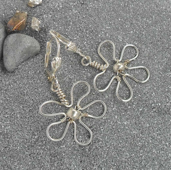 Wire Wrapped Flower Earrings Lightweight Silver Plated Wrap Jewelry Handmade Boho Chic Leverback Boutique One Of A Kind