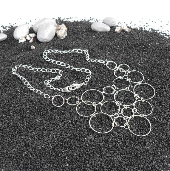Dainty Silver Circle Bubble Necklace Delicate Jewelry Silver Plated Metal Chain Short Linked Circle One Of A Kind
