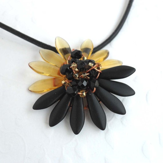 Black And Gold Sunflower Necklace - Wire Wrapped Jewelry Handmade - Pendant Necklace