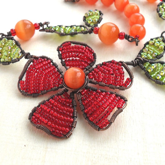 Beaded Flower Necklace Wire Woven Seed Beads Jewelry Antique Copper Tangerine Orange Green Red Wire Wrapped Leaf Leaves Floral Handmade OOAK