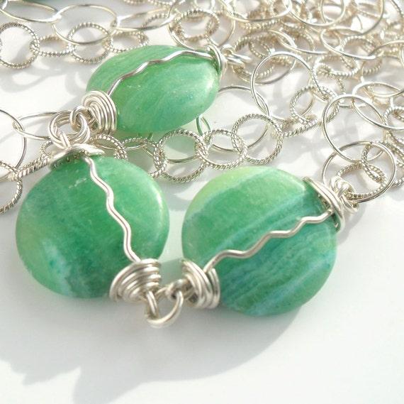 Green Infinity Necklace Wire Wrapped Fine Gemstone Jewelry Handmade Sterling Silver Malachite Long Multi Chain Semi Precious Everyday