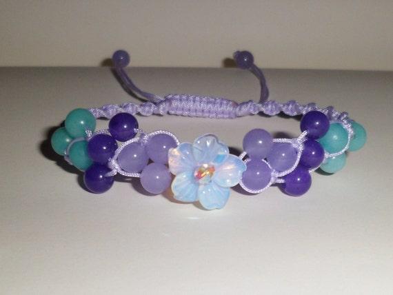 Swarovski, Moonstone Flower, Gemstone Macrame Bracelet