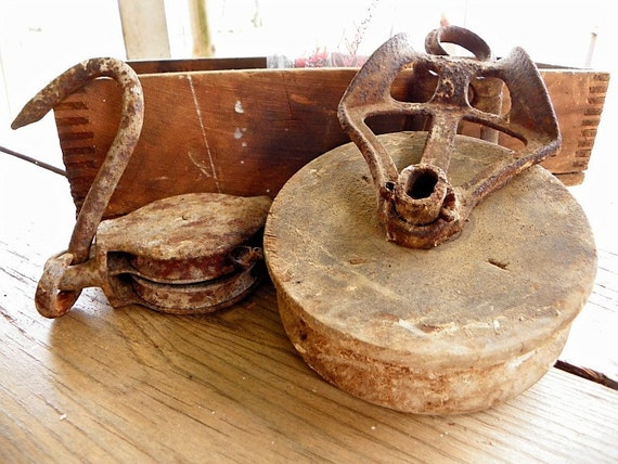 Antique Primitive Wood & Steel Pulleys Old Farm Tool Home Decor