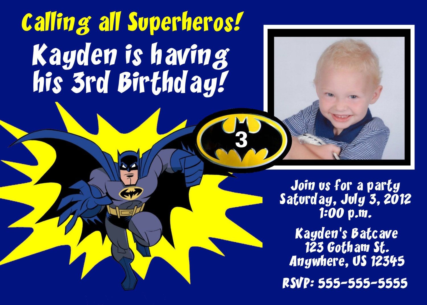 Batman Superhero Birthday Invitation You Print
