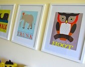 The Play Space Collection - Owl, Elephant, Whale (3 prints total)