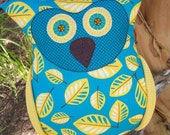 Teal Background and Yellow Leave Body with Yellow Wings Oliver Owl Pillow