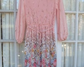 ON SALE - Sheer Pink Pleated Floral Long-Sleeve Dress