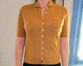 Lady-like Tan Cashmere Short-Sleeved Sweater