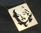 Marilyn Monroe Face Gold Necklace- Rectangle Pendant- Handmade