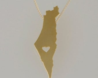 I Love Israel, I Heart Israel Gold Necklace, Israel Map Necklace, Made in Israel, Israel Jewelry, Israel Map Pendant, Gift from Israel