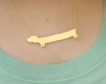 Dachshund Necklace , Gold Doxie Dog Charm , Gold filled Wiener Necklace , a gift for animal lover
