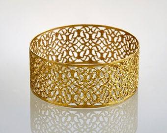Bridal Bangle , Thick Filigree Gold Bracelet , Lace Pattern Bangle , Filigree Jewelry , Gold Bracelet , Filigree Bangle , Thick Bracelet
