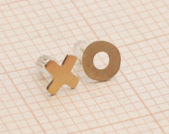 XO Gold Earrings , Hugs and Kisses Posts , I Love You Jewelry , Boyfriend Girlfriend Earrings