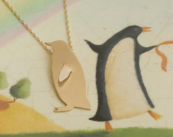 Penguin Necklace , Gold Penguin Charm , Kawaii Necklace , Sea World Animal , Bird Necklace , Penguin Jewelry , Penguin Pendant ,Gift for Her