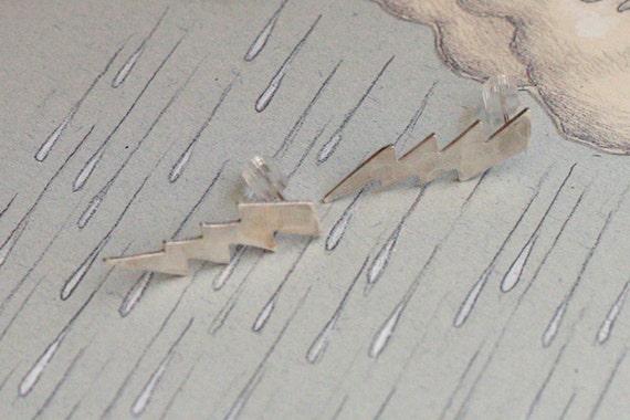 Silver Lightning Post Earrings , Hammered Sparkle Studs - Handmade