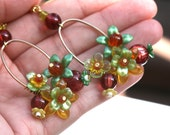 Flower Dangle Earrings Red and Green and Yellow Beaded Gold Hoop