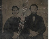 Tintype of a man and woman ca 1860s