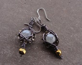 Steampunk Earrings -- Smokey Bronze Web