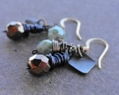 Mint Chip & Bronze Wire Wrapped Earrings