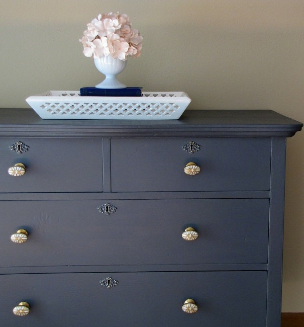 Dark grey painted dresser for Dark grey furniture paint