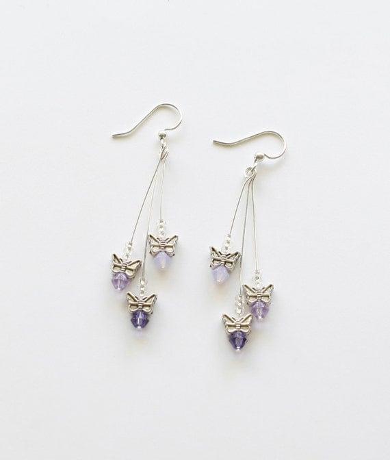 Butterfly Dangle Earrings - purple Swarovski crystal