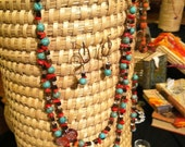 SOLD  Necklace, earrings, and bracelet matching set in turquoise, red and brown with handblown glass