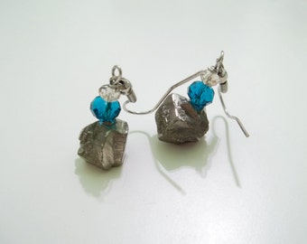 Fool's gold and crystal earrings