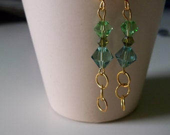 Golden Circles green crystal earrings