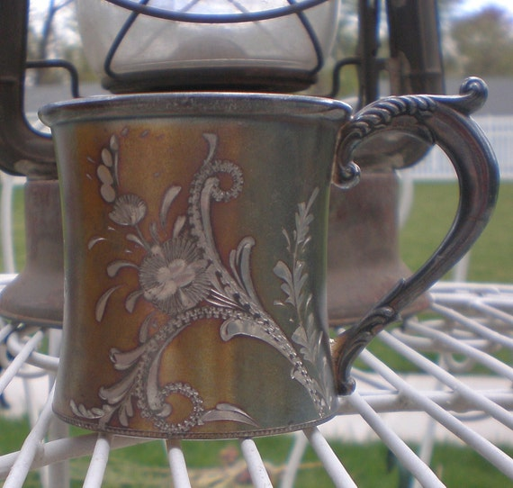 RESERVED//Antique Silverplate Cup Victorian Cottage Chic