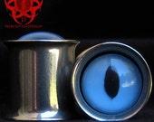 "Blue Reptile Eye Plugs gauged ears 5/8, 3/4, 1"""