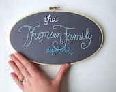 Family Sign Embroidery Hoop Art Custom Family Established Personalized Sign Grey Blue Nursery Art House Warming Wedding Gift