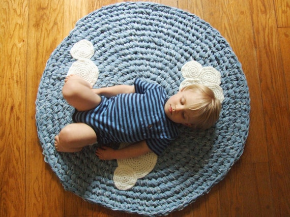 Custom Listing Crochet Rug Upcycled Cotton with Crochet Clouds SALE Blue and White Circle Round Nursery Rug as Featured in Etsy Finds