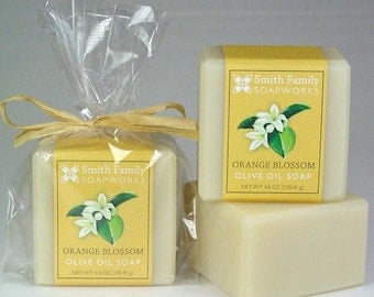 Orange Blossom Soap -  Handmade Soap, Olive Oil Soap, Natural Soap Bar, Cold Process Soap