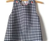Eco friendly reversible sundress, size 3, black and white gingham, recycled clown sheet, red ric-rac, 70s, strawberry buttons, ready to ship