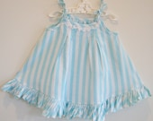 Eco friendly Upcycled toddler girls summer dress sundress, aqua blue white striped sunfrock, size 2 thrifted sheets white lace trim.