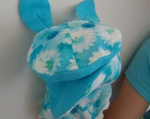 Cloth hand puppet, handmade vintage, sweet blue print with button eyes, blue ears and white ric-rac.