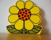 Wooden flower, Vintage Japanese flower decoration, yellow and orange daisy cut out, could be a coaster.