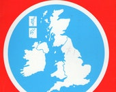 British Isles map, Great Britain vintage map, scale 1:1,004,211 Plan your trip or just cut it up
