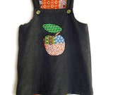 Reversible ecofriendly jumper, dark grey gray pinafore, Girls corduroy dress size 4 with upcycled 70s patchwork print lining