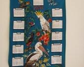 Souvenir vintage tea towel, birds of Australia, lovely bird illustrations and 1970 calendar on teal background, cotton dish towel