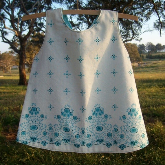 Baby pinafore jumper sundress size 2, 70s style ecofriendly upcycled fabrics handmade white and blue cotton pillowcase ready to ship