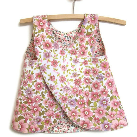 Baby sundress pinafore jumper upcycled pink pillowcase reversible size 1 70s style ecofriendly ready to ship handmade in Australia