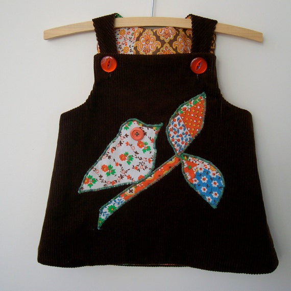 Eco friendly upcycled baby pinafore jumper dress size 1 winter dark brown thick corduroy cord bird on branch applique 70s style