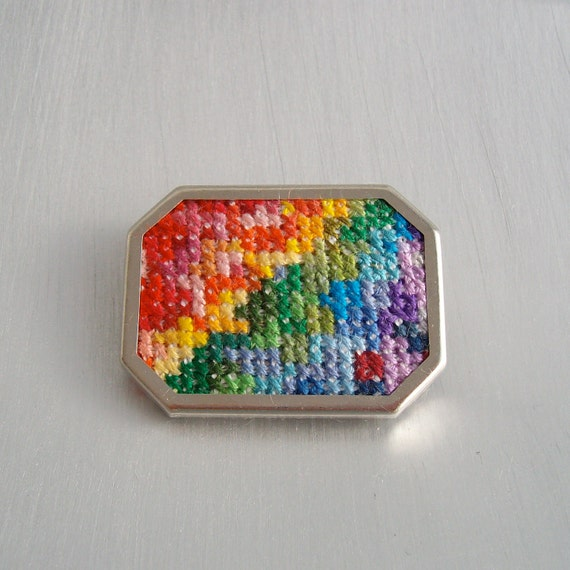Rainbow brooch, Embroidered brooch, cross stitch brooch, embroidered jewellery, embroidered jewelry, hand stitched rainbow colours