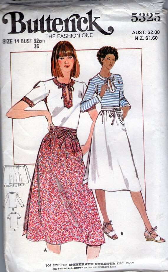Wrap around skirt pattern, wrap skirt, Butterick 5325, 70s skirt and top size 14 bust 36 inch uncut  pattern
