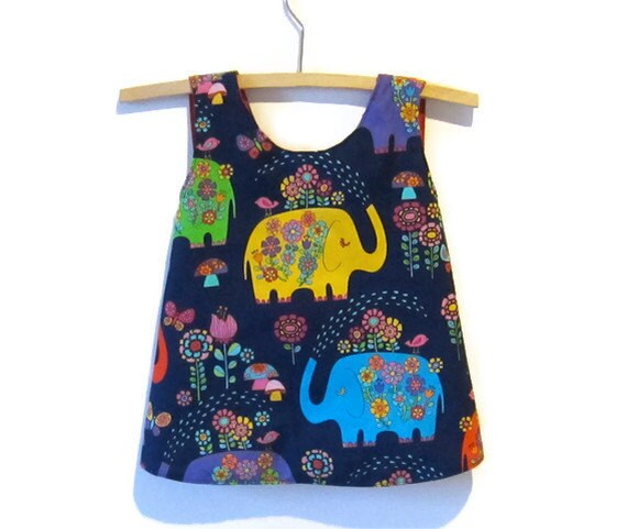 Reversible Baby dress & pants bloomers set, outfit crossover back, sundress pinafore navy blue elephant upcycled size 0 to fit 6 - 12 months
