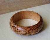 Vintage Painted Wood Bangle Bracelet Hatch Design