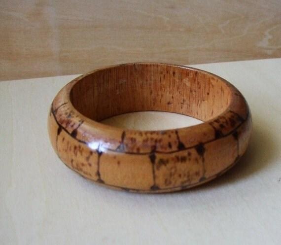 Vintage Natural Wood Painted Bangle Bracelet