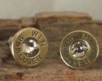 Bullet  Earrings  - Stud Earrings - Ultra Thin - 9mm Luger - Crystal
